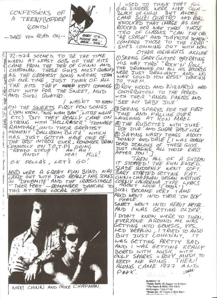 confessions of a teeny bopper 2 too late fanzine 1978 Glam Rock
