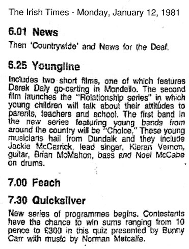 irish times tv listings rte1 youngline Jan 12 1981