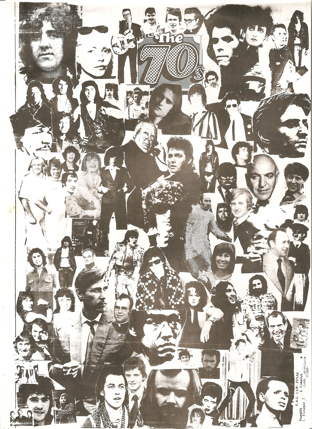 collage of heads from 70s pop and Dundalk: from Too Late 1979