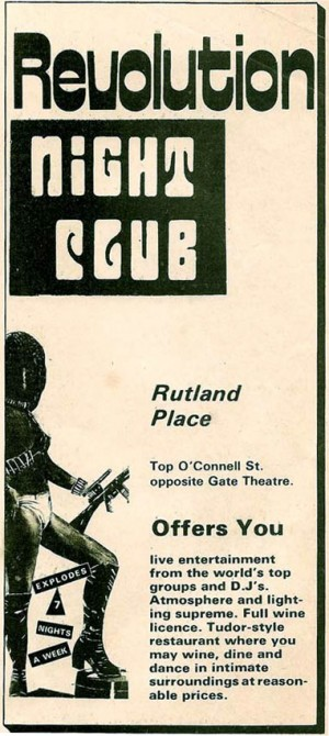 Revolution Night Club advert from Man Alive mag 1974