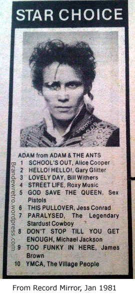 adam ant his top 10 fave records record mirror jan 1981