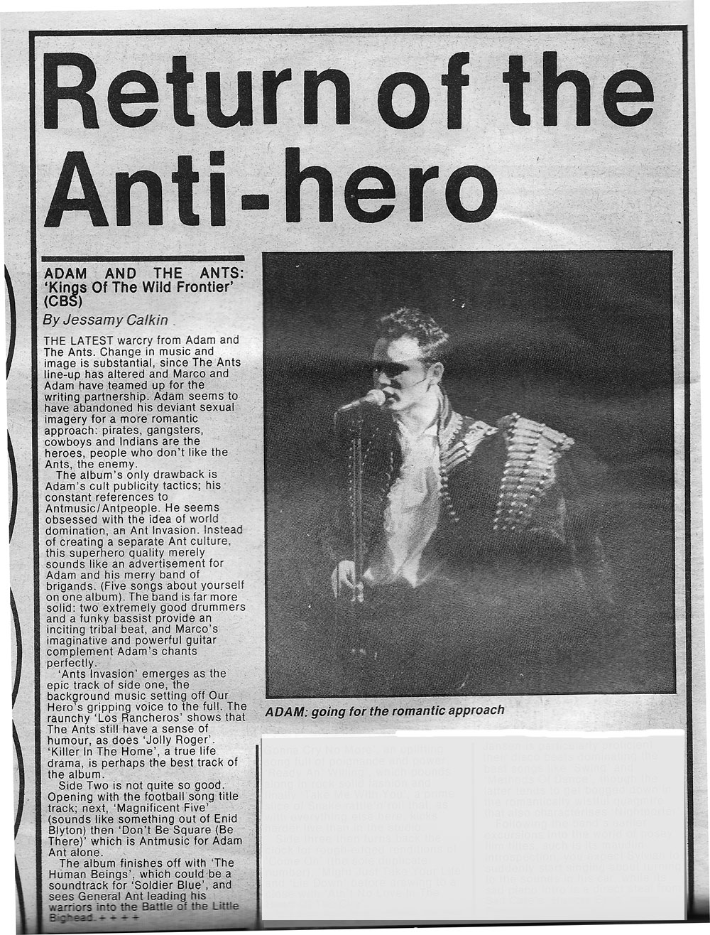 Kings of Wild Frontier Review Record Mirror 1980