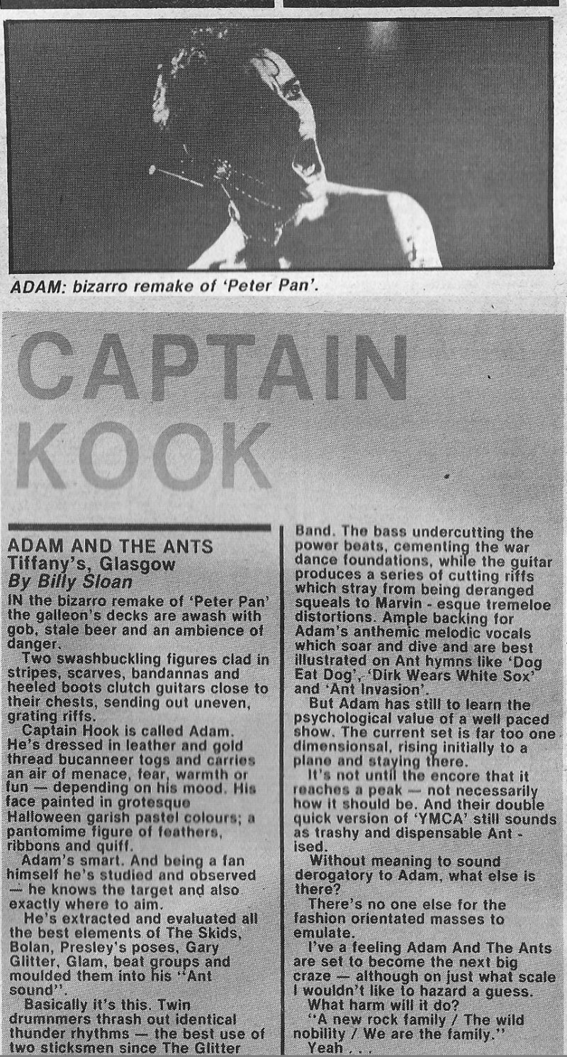 Adam and the Ants live review Tiffanys Glasgow - Record Mirror Nov 1980