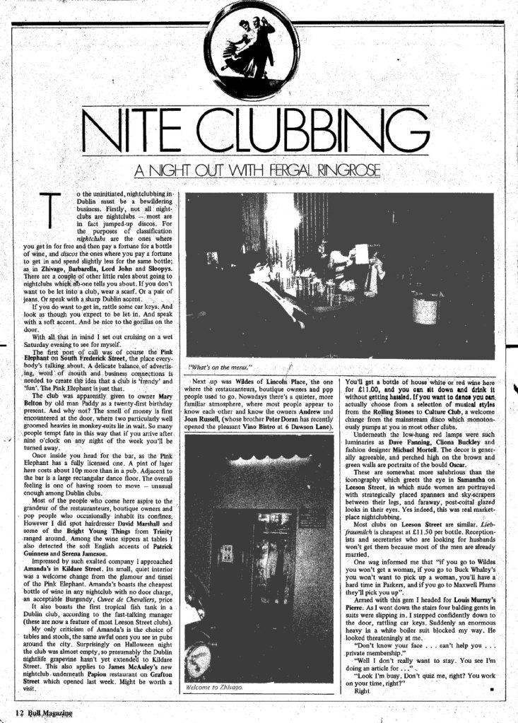 review of dublin night clubs nite bull magazine 1982 fergal ringrose zhivago pink elephant