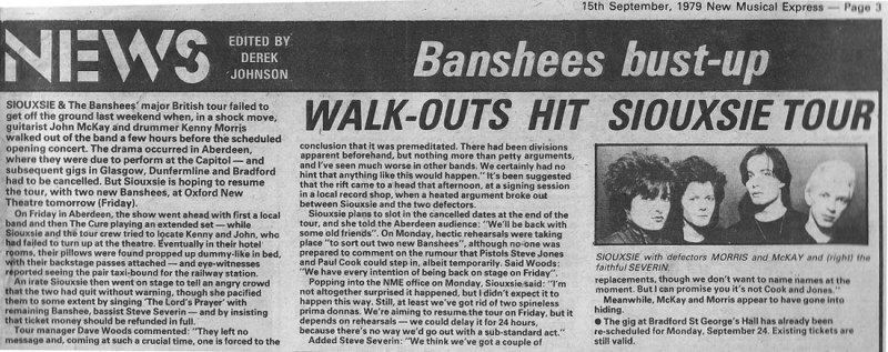 banshees split Aberdeen Belfast NME 1979