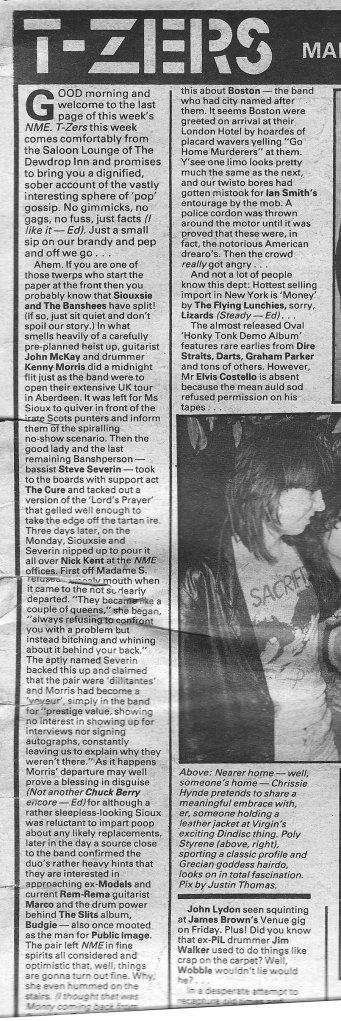 banshees split 1979 belfast NME aberdeen