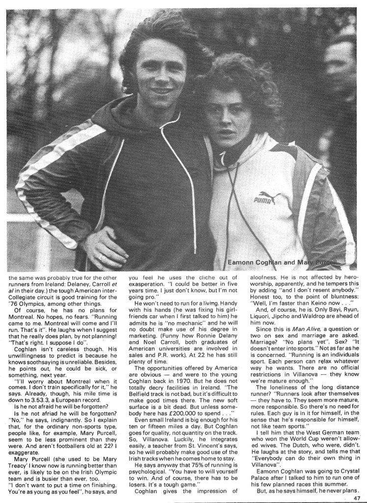 eamonn coghlan 1975 man alive sport mary purcell