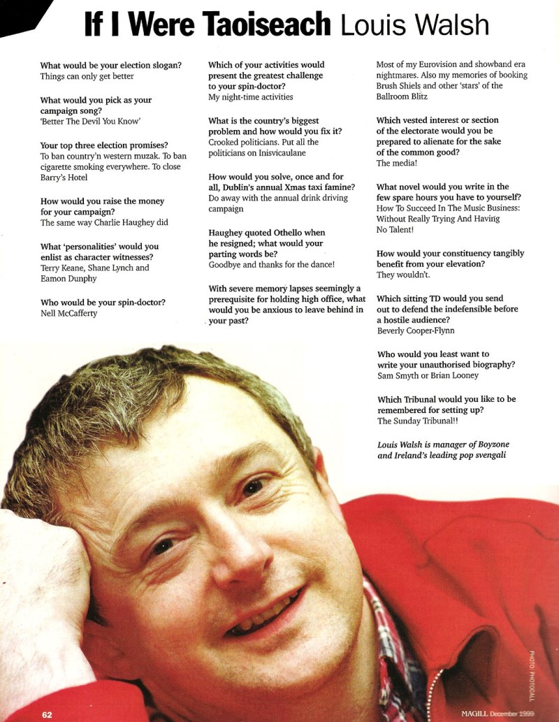 Louis Walsh 1999 Magill Magazine