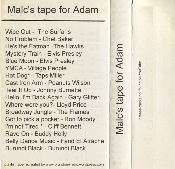 malcolm mclaren's pretend tape inner sleave playlist for adam ant 1979
