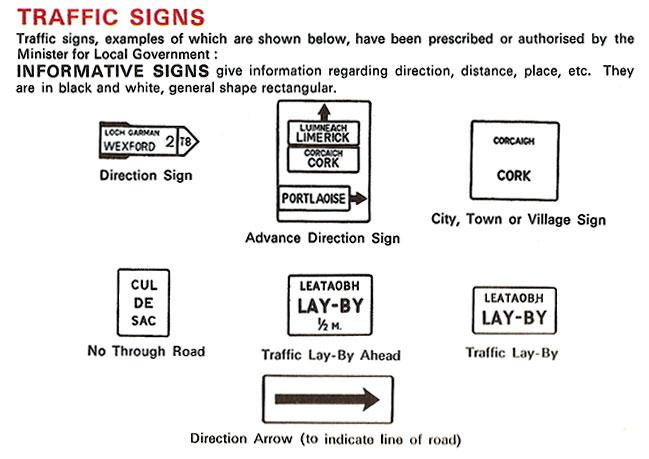 irish rules of the road 1967 ireland signs