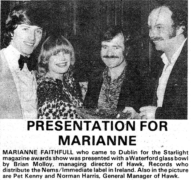 pat kenny marianne faithful 1976