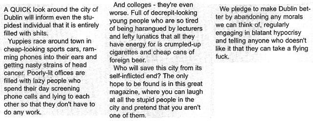 editorial the slate magazine issue 1 dublin 2000