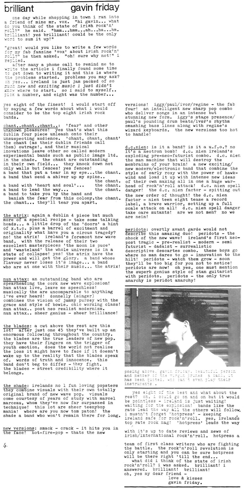 blades dc nien  atrix shade peridots nun attax irish bands 1980
