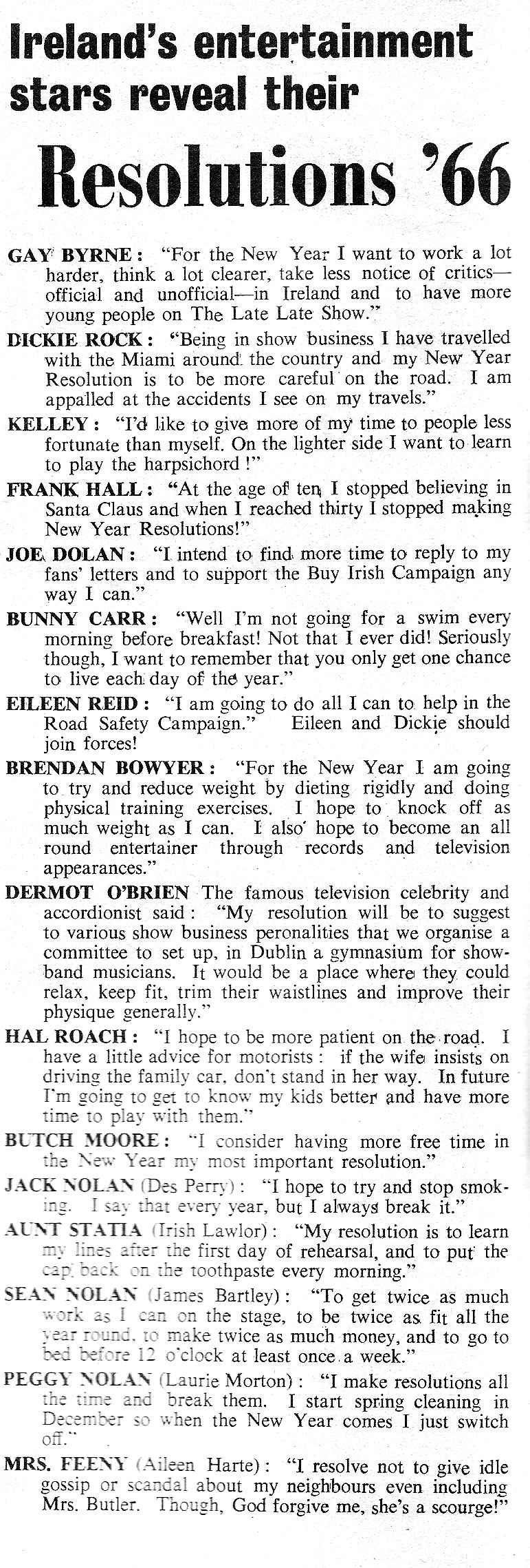1966 new year resolutions irish showbiz