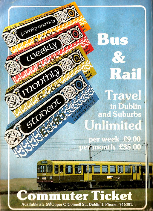 integrated ticket dublin bus rail 1985