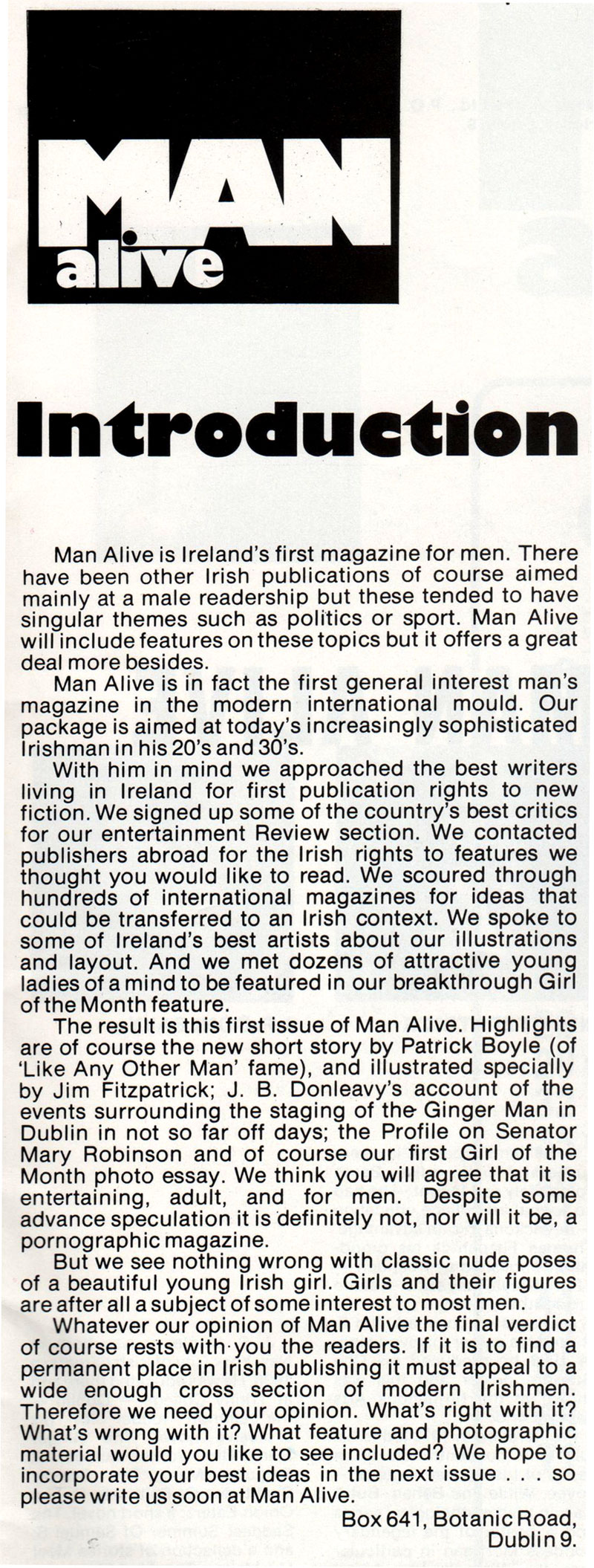 man alive issue 1 Inside-Cover