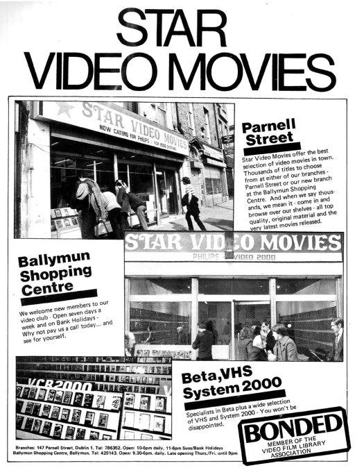 star video shop advert parnell st Dublin1  1982