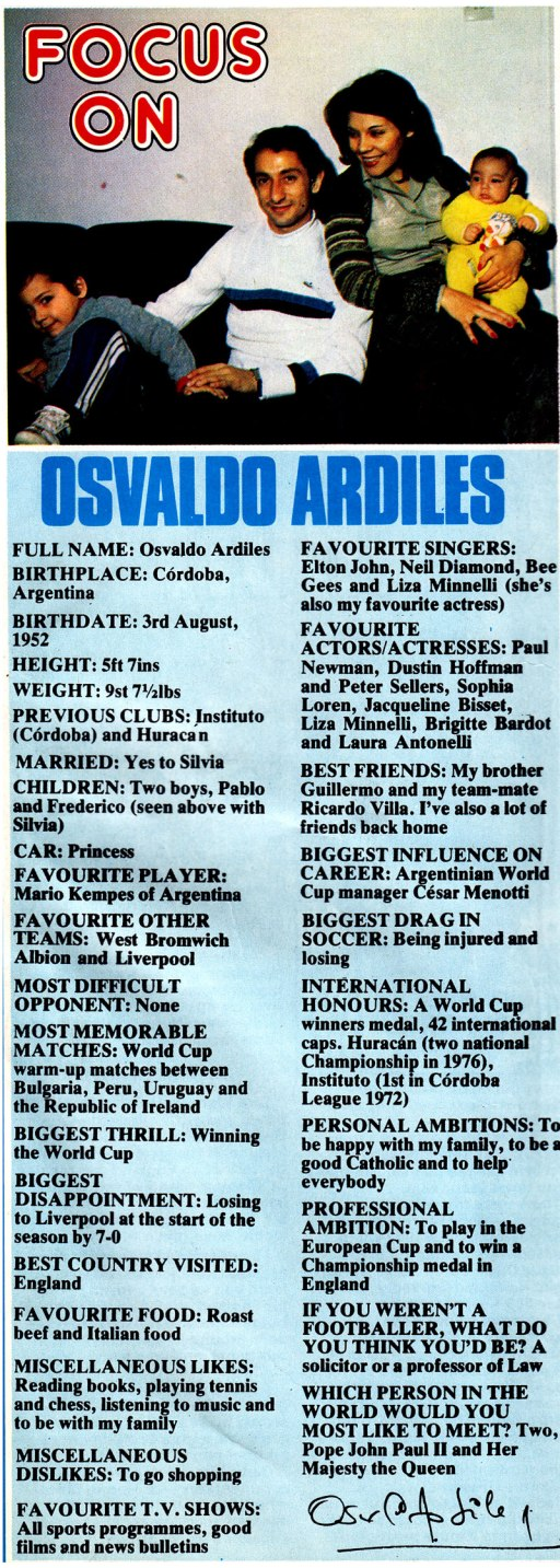 focus on ossie ardiles 1979