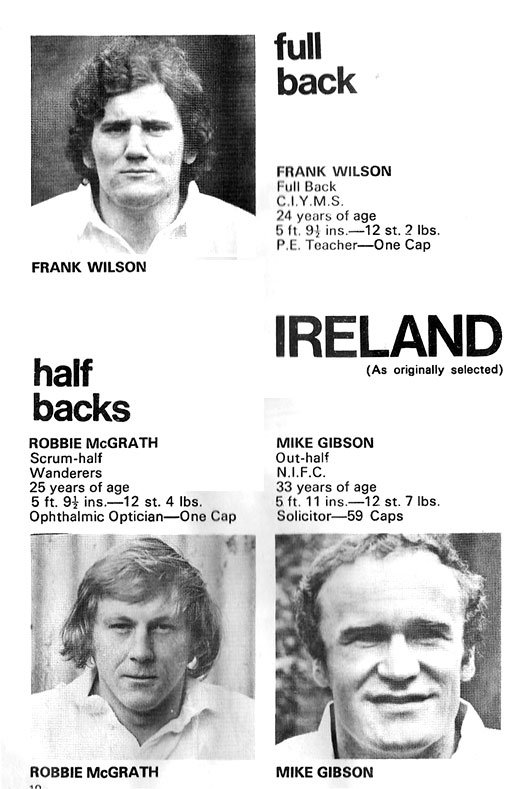 backs ireland rugby 1977