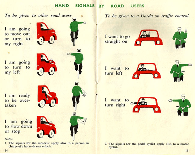 hand signals rules of road ireland 1957
