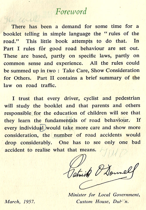 foreword rules of road ireland 1957