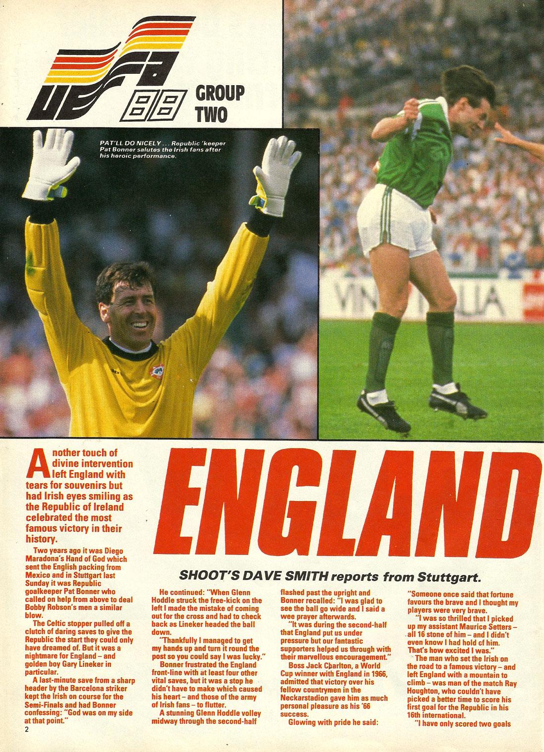 ireland v england uefa 1988 stuttgart shoot page1