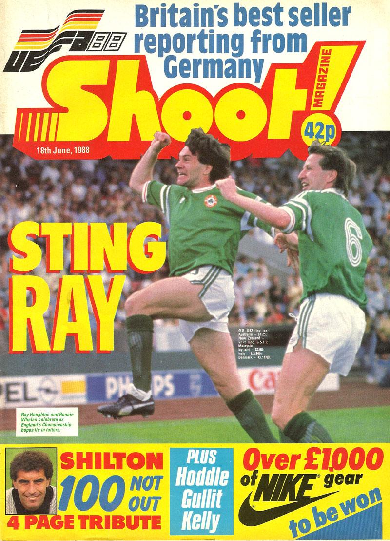 ireland v england uefa 1988 stuttgart shoot mag cover