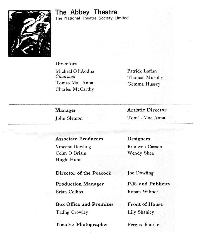 abbey theatre directors etc 1974
