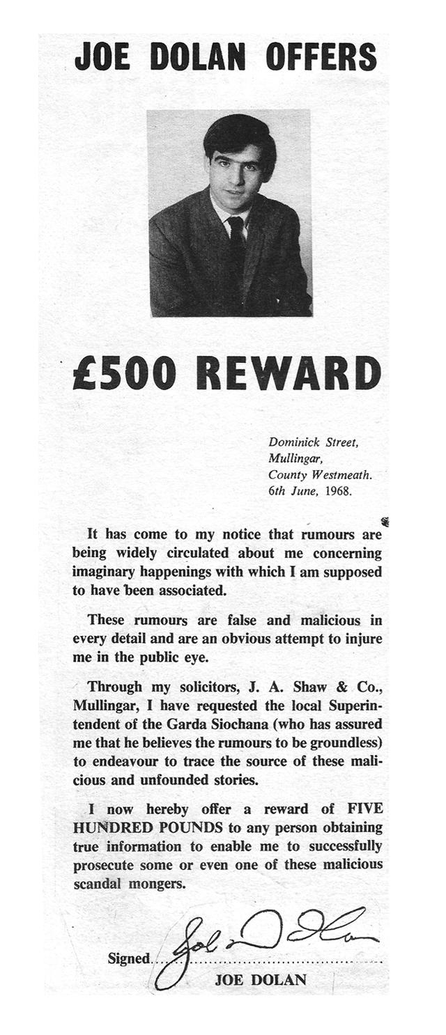advert- reward -joe-dolan rumour mongers