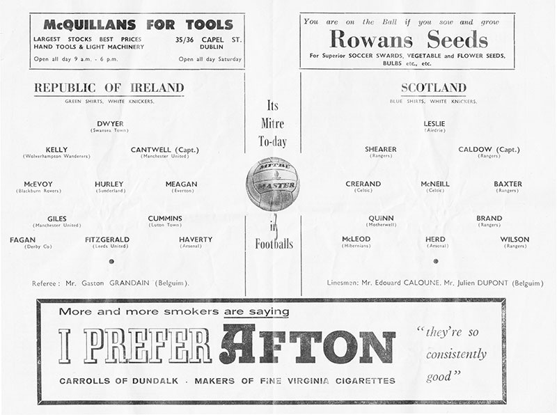ireland v scotland teams 1961
