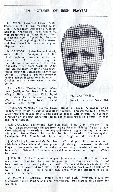 pen-pictures - noel-cantwell-ireland-1961