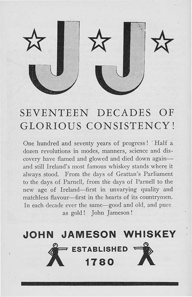 John Jameson Whiskey 1958 advert